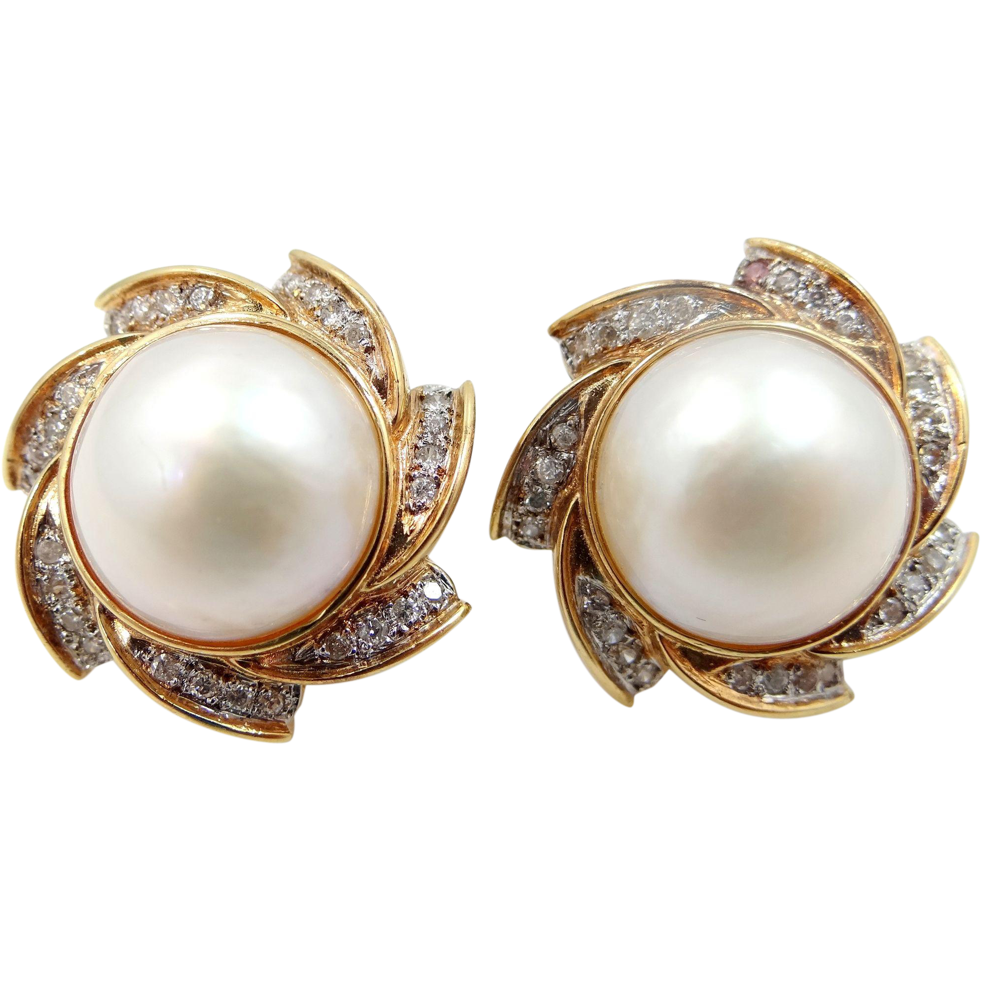 Large 14k Gold Mabe Pearls and Diamonds Earrings 14 Grams