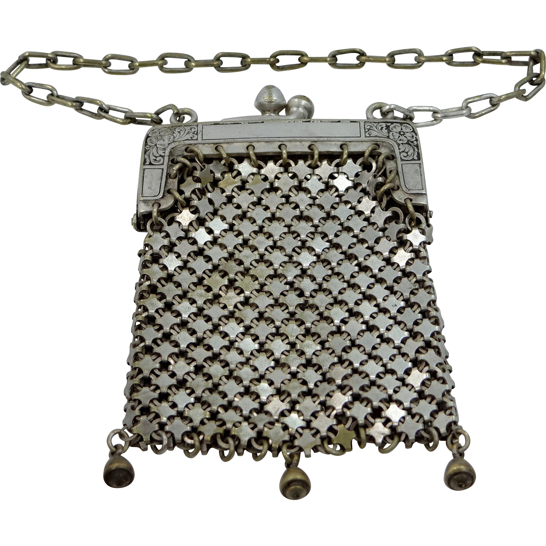 Victorian Nickel Silver Mesh Doll Purse