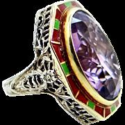 Art Deco 14k Gold and Enamel Filigree Amethyst Ring