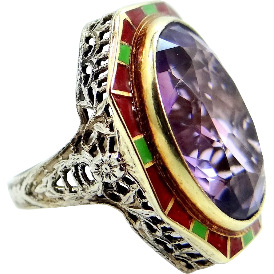 Art Deco 14k Gold and Enamel Filigree Amethyst Ring