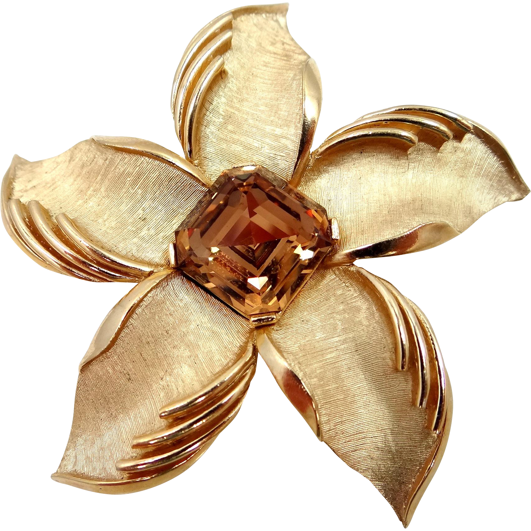 Trifari 5 Petal Floral Pin with Large Topaz Glass STone
