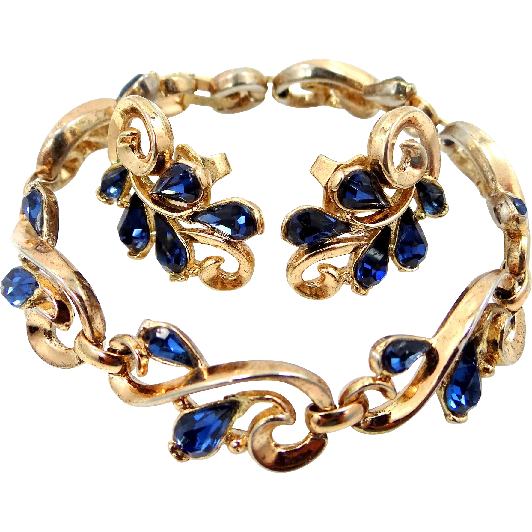 1950s Trifari Bracelet and Earrings with Sapphire Glass