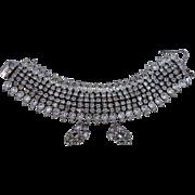 Kramer Wide Icy Rhinestone Bracelet & Earrings