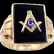 Antique 10k Gold Masonic Ring with Enamel and Onyx