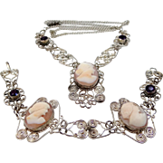 1930's 800 Silver Filigree Cameo Necklace and Matching Bracelet