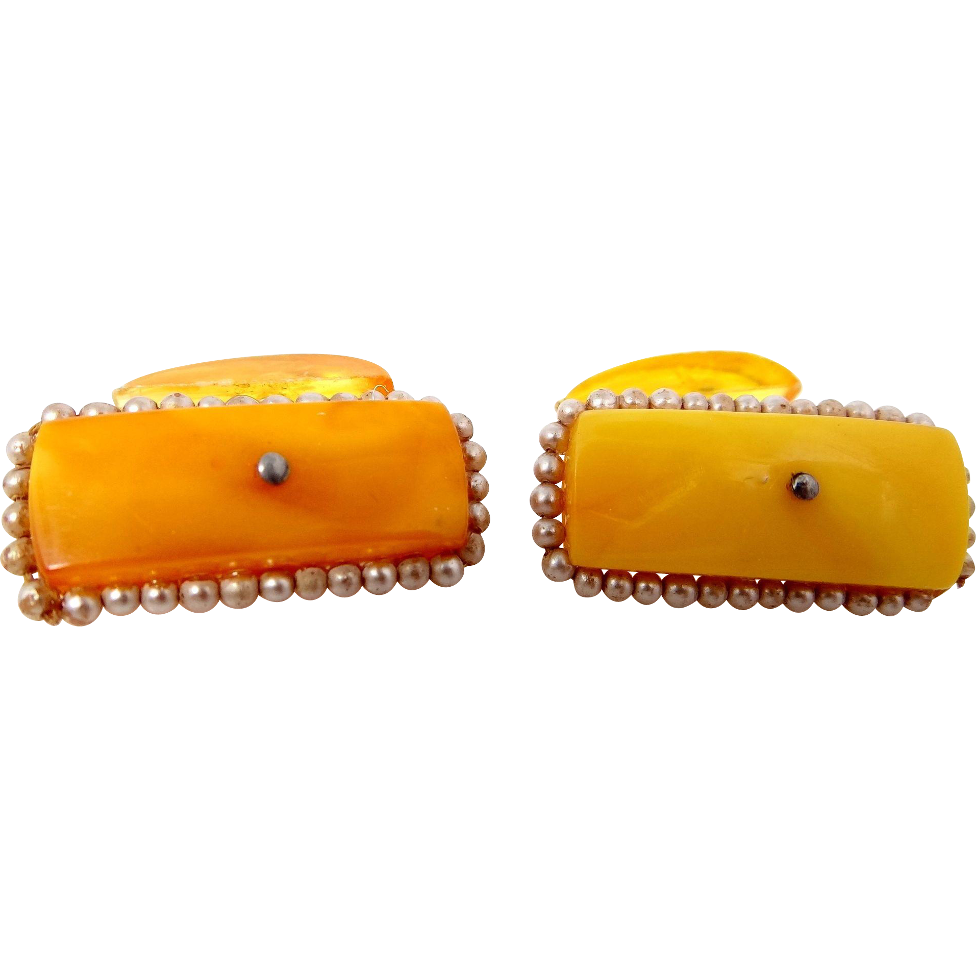 Antique Egg Yolk Amber and Faux Seed Pearls Cuff Links