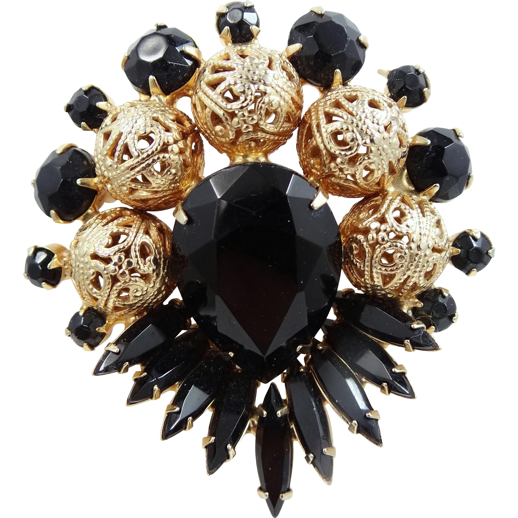 Juliana Filigree Beads and Black Glass Beads / Balls Pin