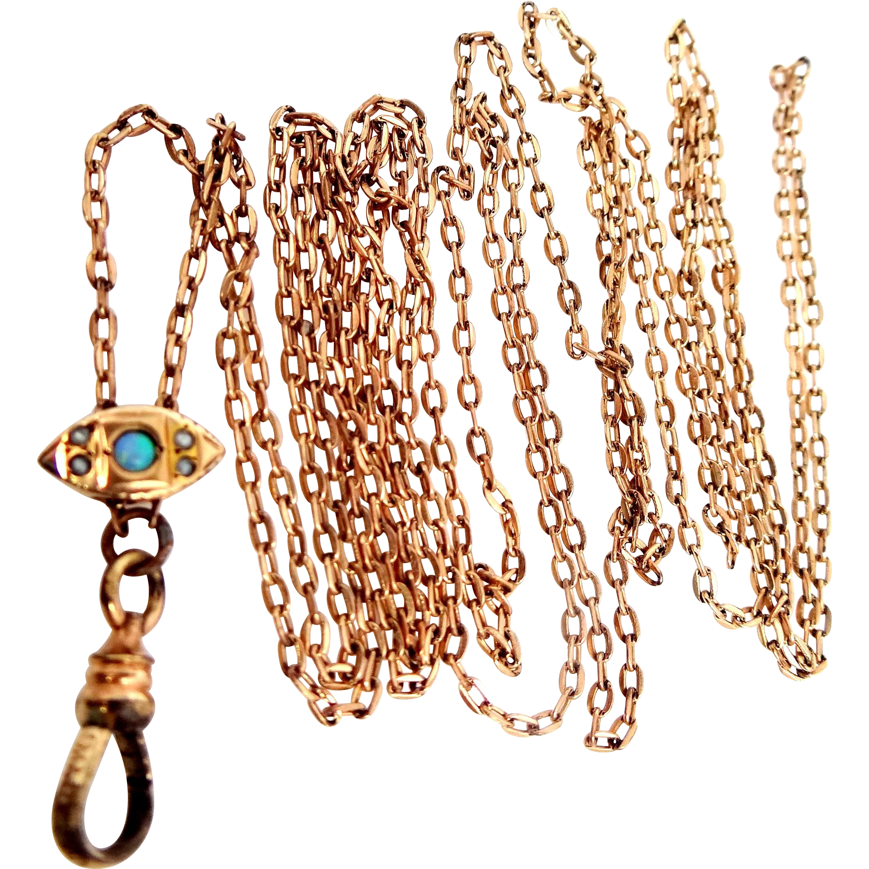 10k Gold Opal and Seed Pearls Slide on S.O. Bigney Gold Filled Chain