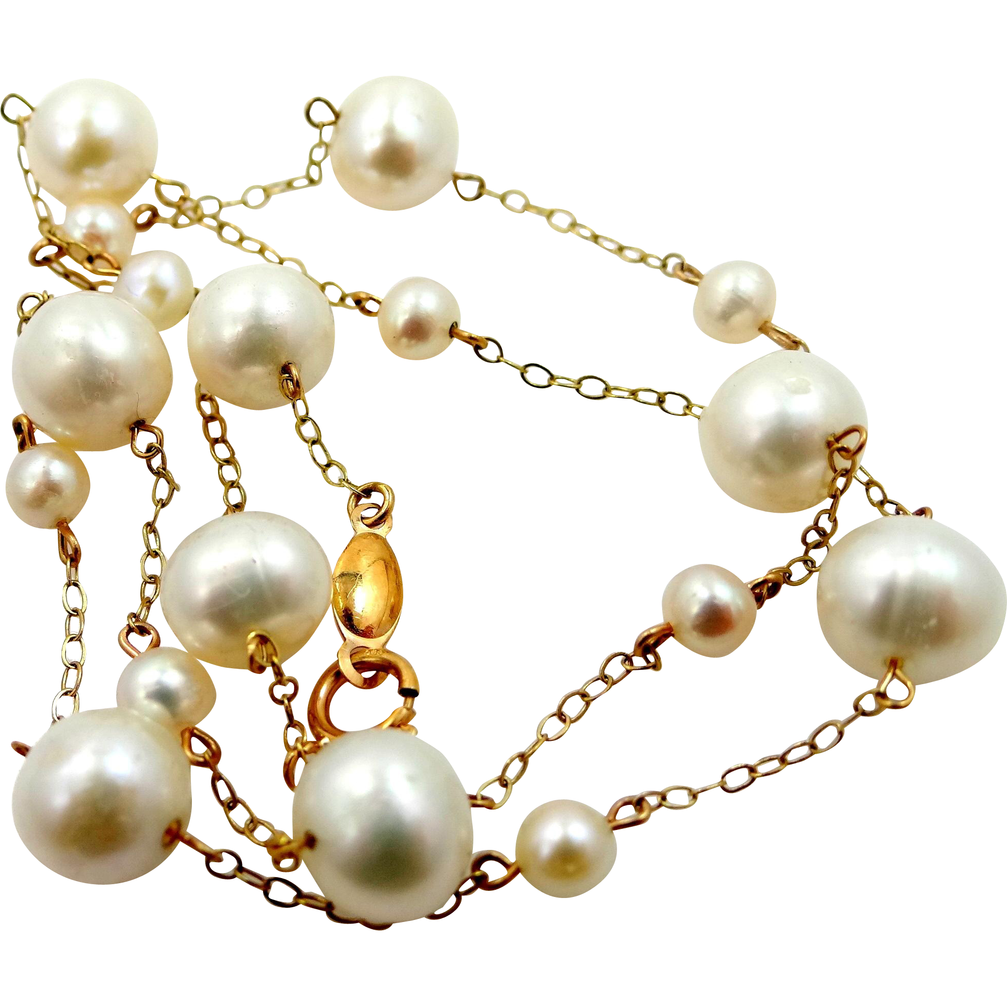14k Gold Peter Brams Freshwater Pearls Necklace