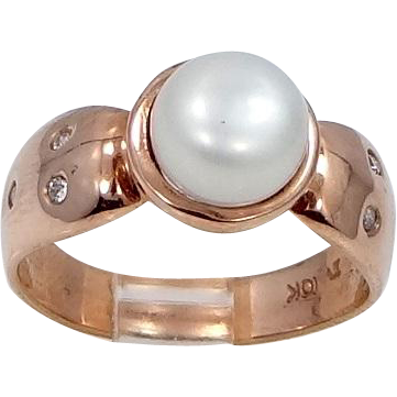 10k ROSE Gold Freshwater Pearl Lady's Diamond Ring