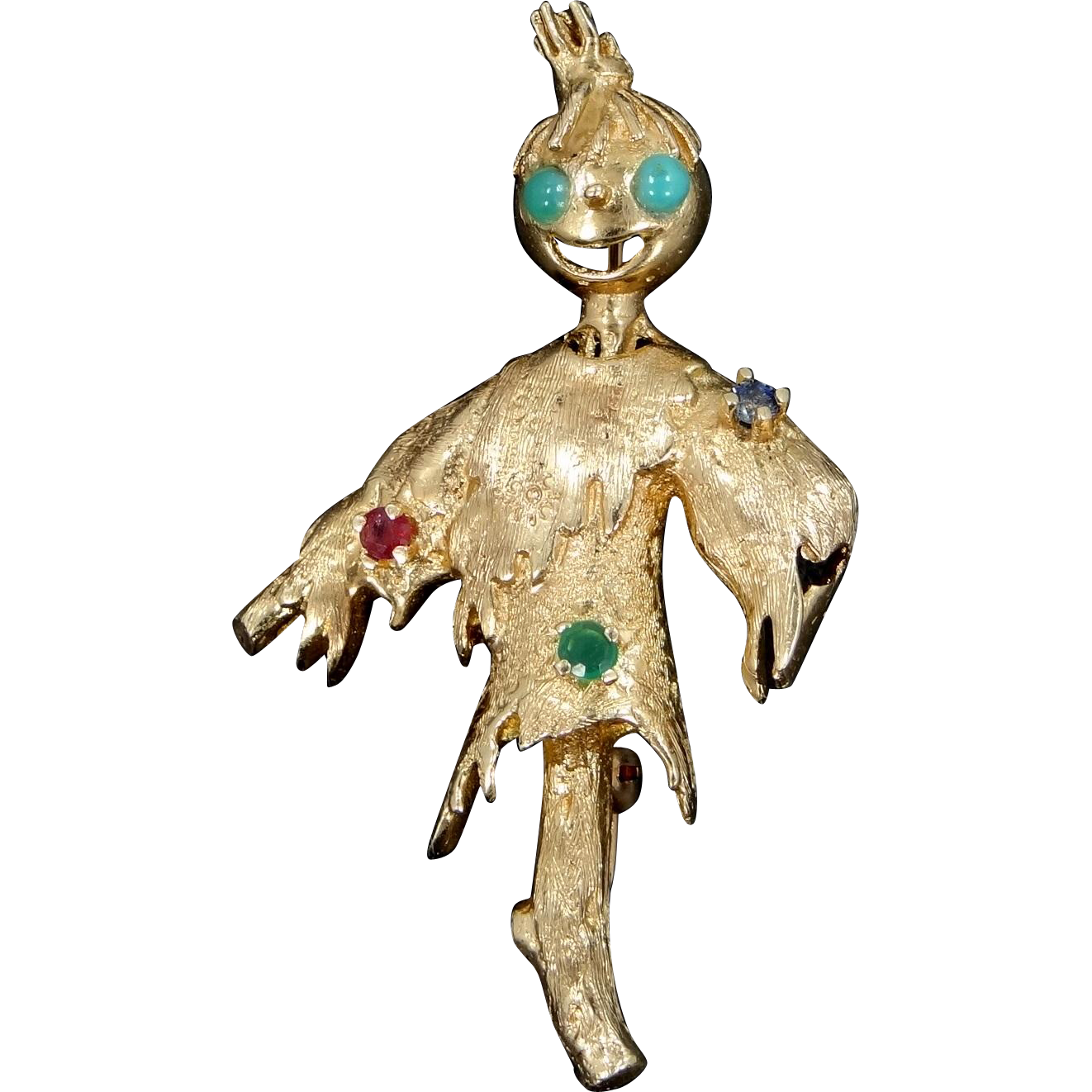 14k Gold Gemstones Figural Scarecrow Pin