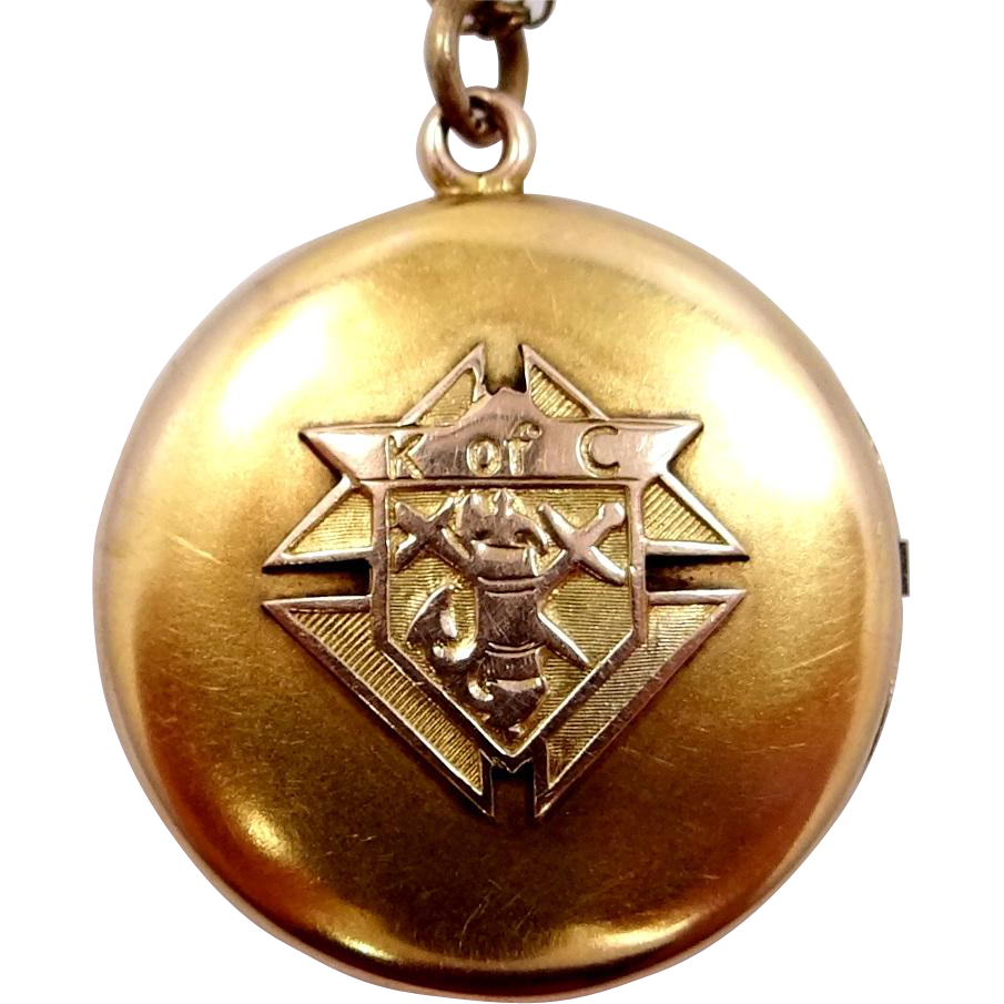Early 1900s Knight's of Columbus Gold Filled Locket with Chain
