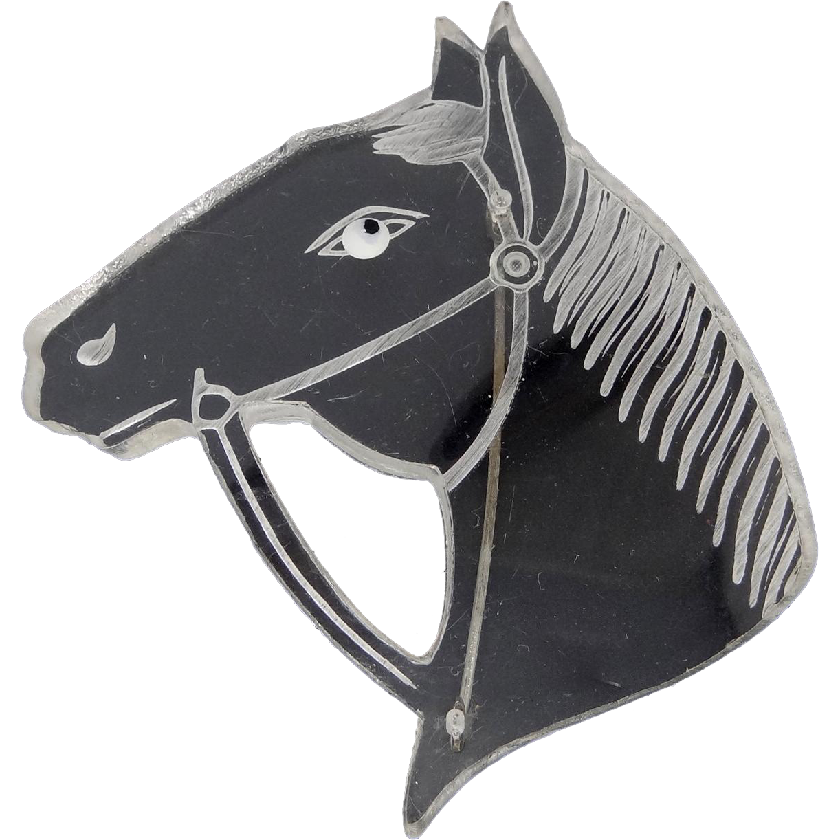 1930's Carved Clear Lucite Horse Head Pin
