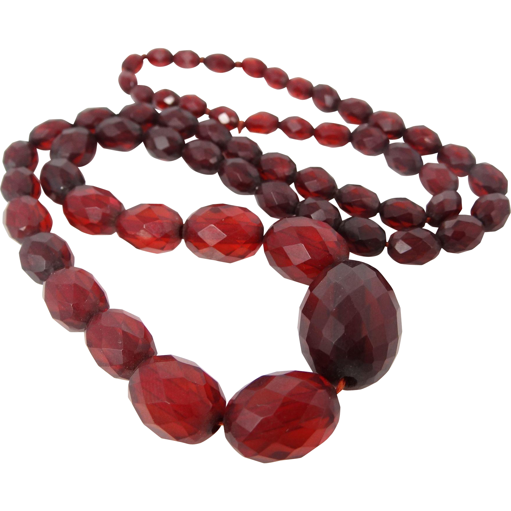 "28"" Long Faceted Cherry Lucite Bead Necklace"