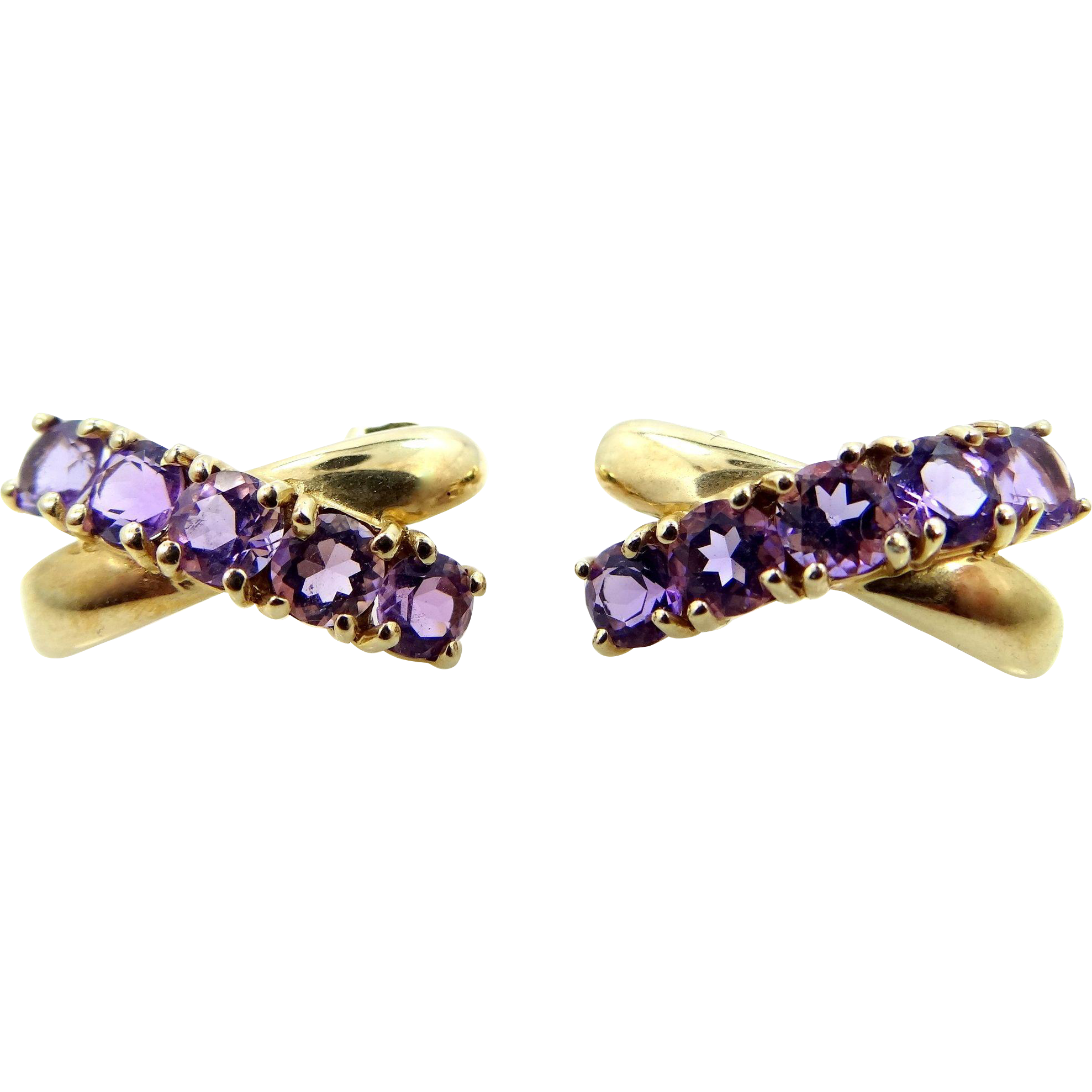 "10k Gold and Amethysts ""X"" Pierced Earrings"