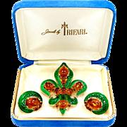 1960s Trifari Enamel L'Orient Fleur deLis Pin & Matching Earrings with Box