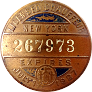 1920s New York Licensed Chauffeur Badge