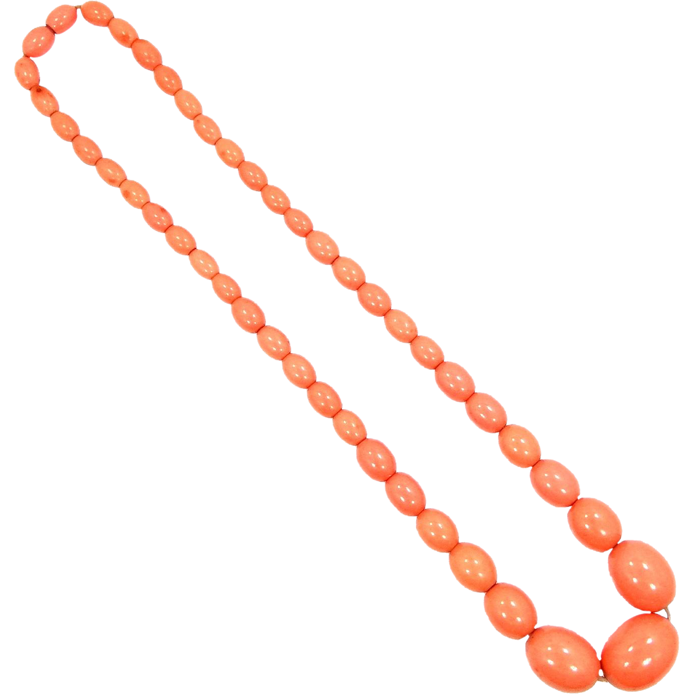 Vintage Celluloid Necklace in Rich Coral Color