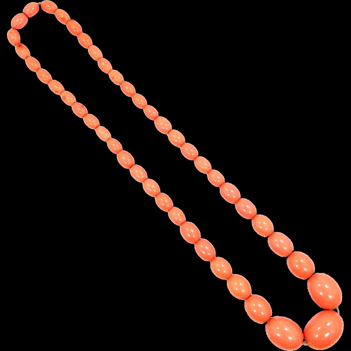 Vintage Celluloid Necklace in Rich Coral Color