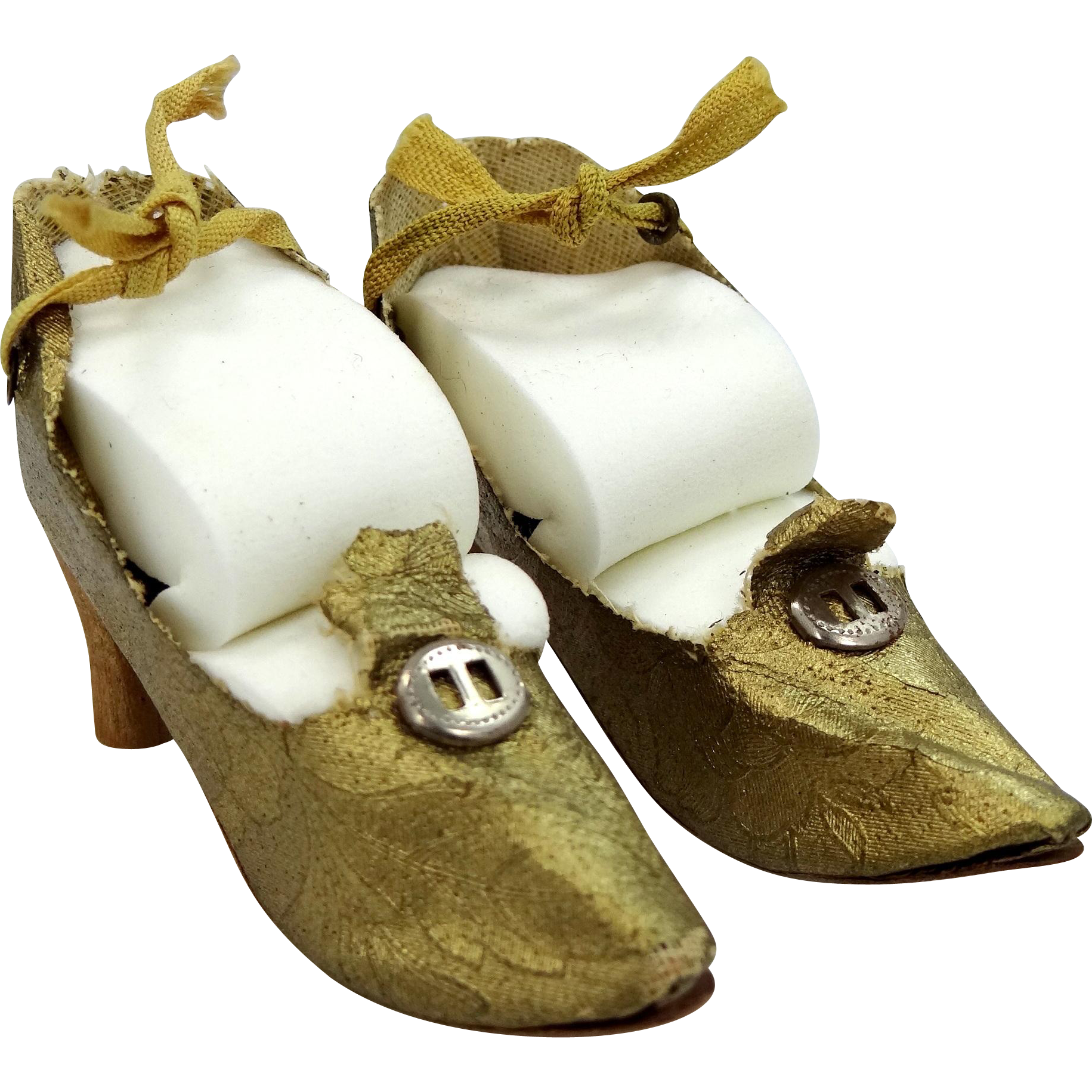 Vintage Gold Brocade Lace Up Heeled Boudoir Doll Shoes