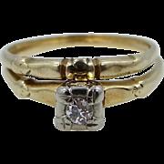 Vintage 14k Gold Diamond Stacking Ring Set Engagement Ring AND Wedding Band