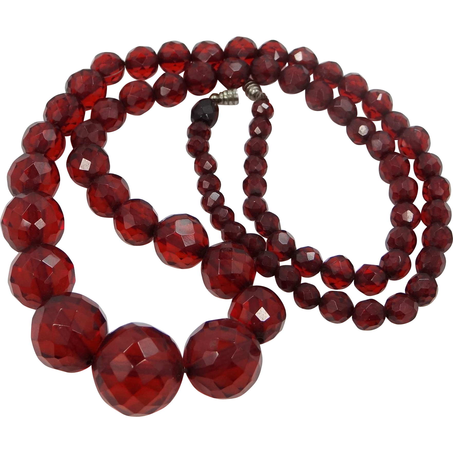 "Art Deco Faceted Cherry Amber Bakelite 26"" Long Necklace Round Beads"