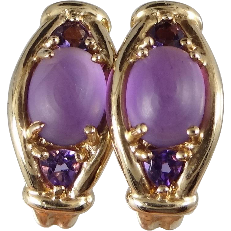 Pretty 10k Gold Amethyst Earrings