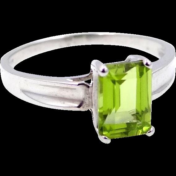 10k white gold emerald cut 1 carat peridot ring from mur