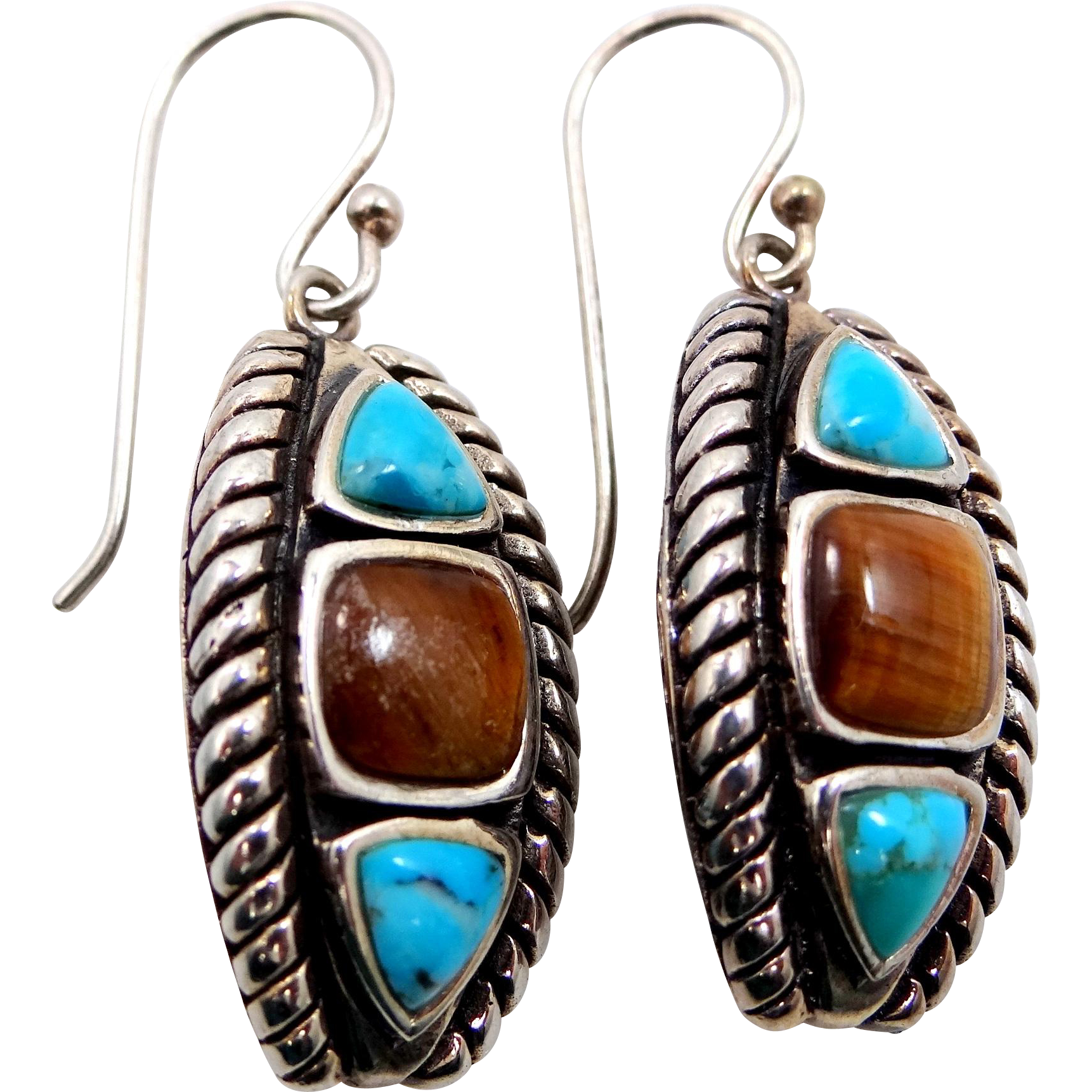 Sterling Tiger Eye and Turquoise Southwest Style Pierced Dangle Earrings