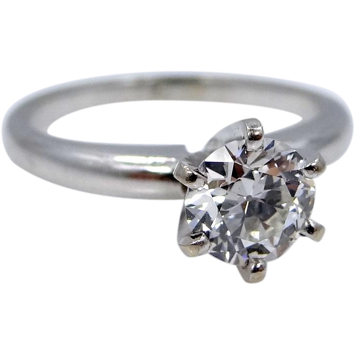 14k White Gold 0.80 Point Diamond Solitaire Ring