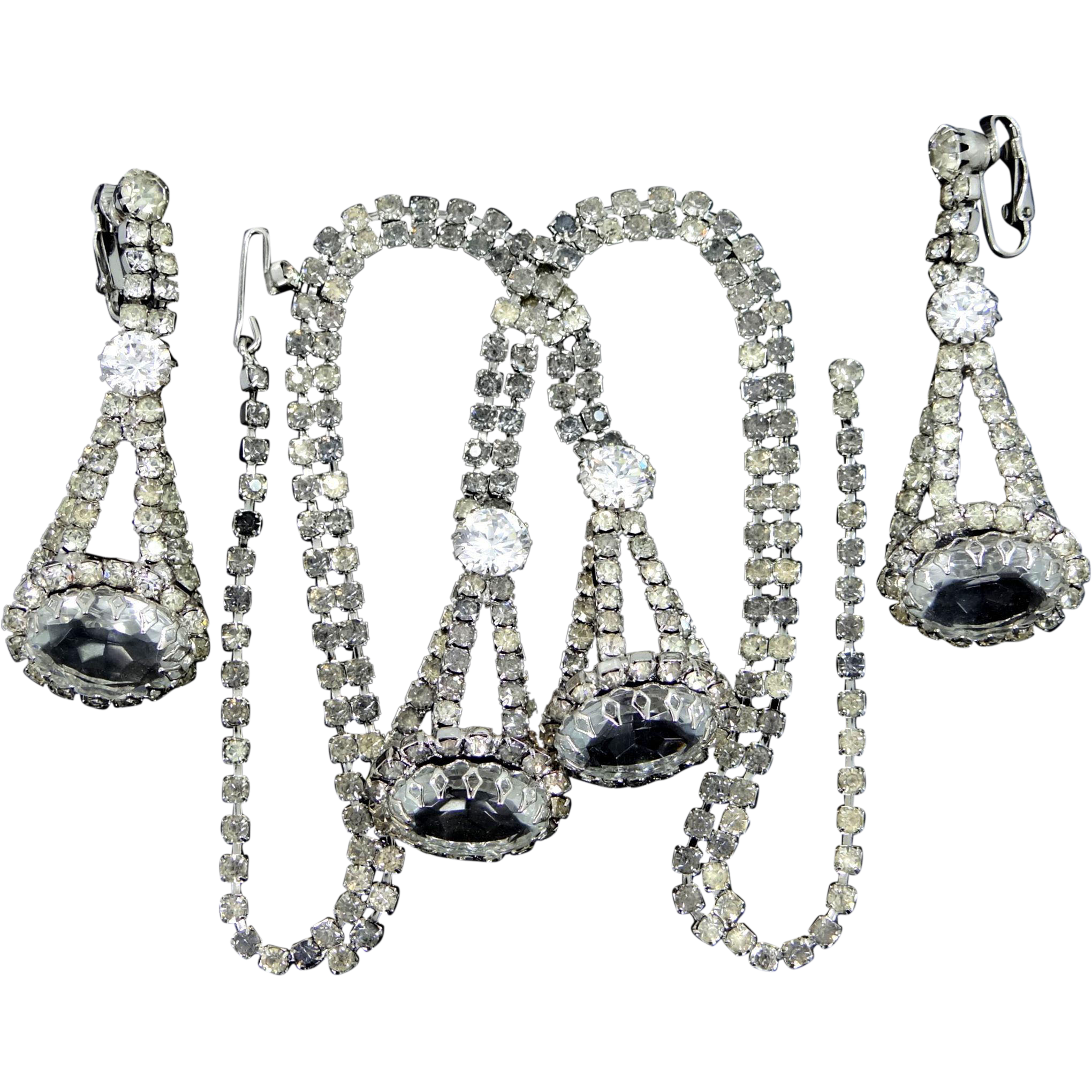 Extraordinary Prong Set Necklace and Matching Earrings