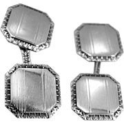 14k White Gold Art Deco Cuff Links Cufflinks