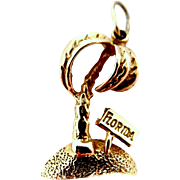 14k Solid Gold Florida Palm Tree Charm