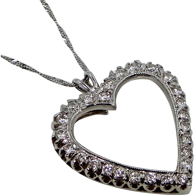 14k Gold Diamond Heart Necklace 1tcw Large Size