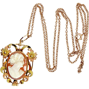 1930s 10k Rose Gold and Yellow Gold Cameo Necklace