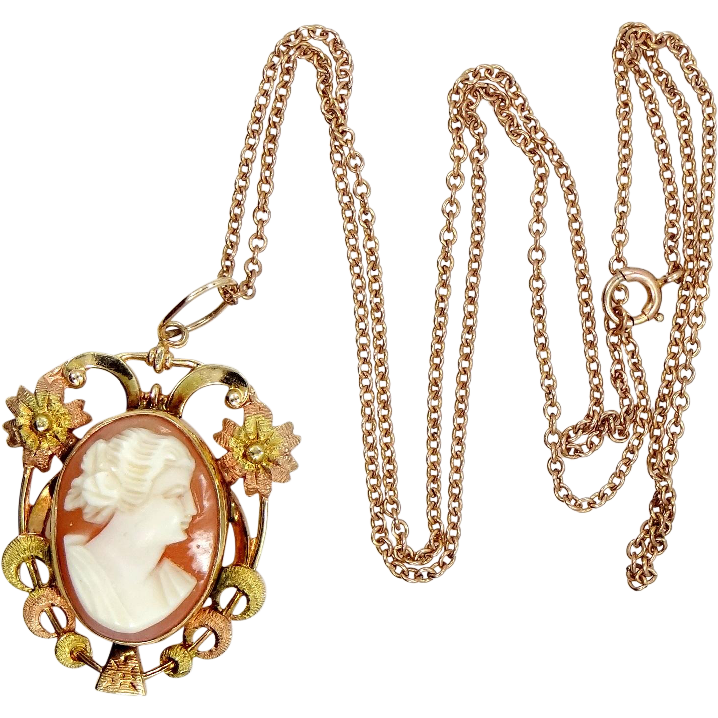 1930s 10k rose gold and yellow gold cameo necklace from for 10k gold jewelry