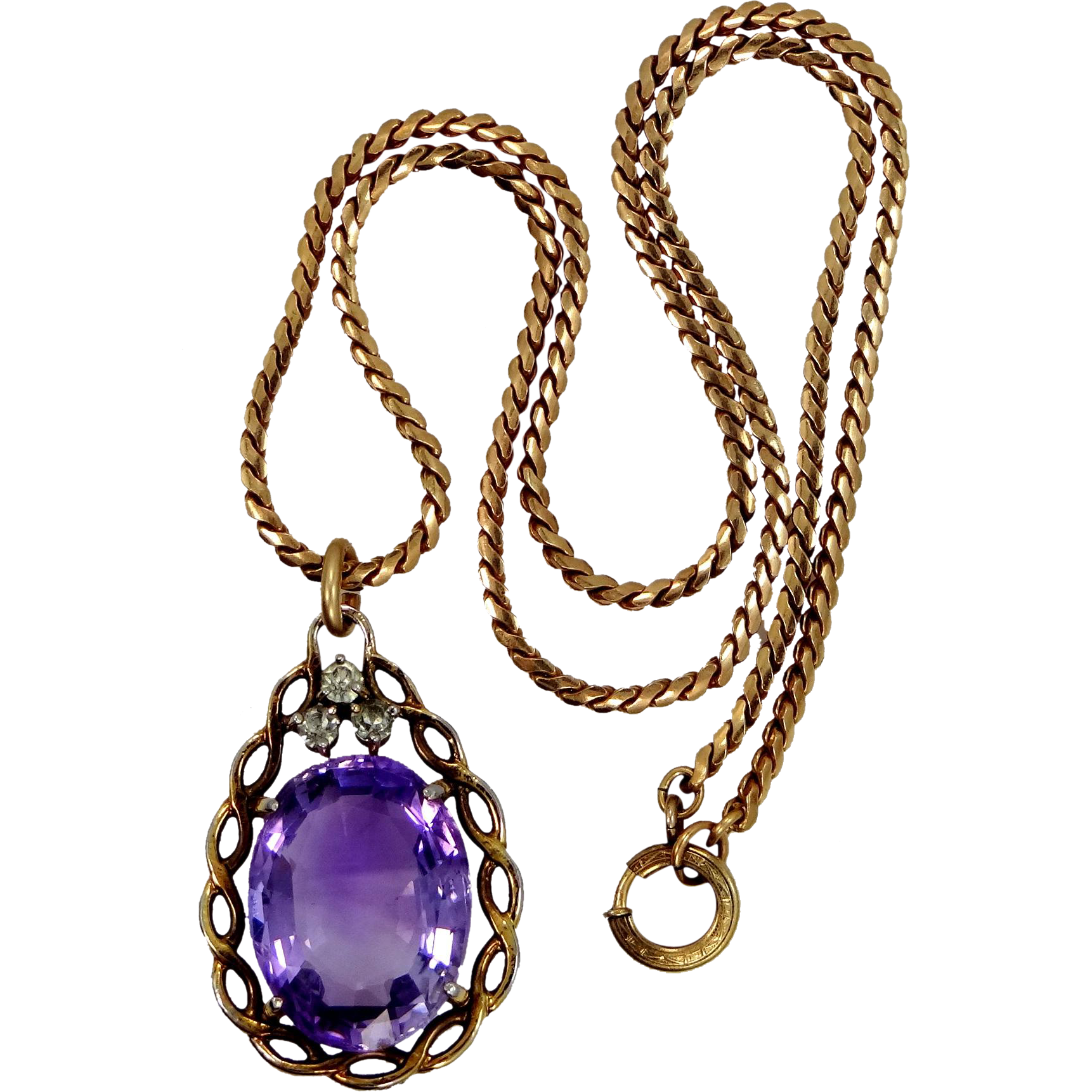 Pretty Synthetic 15 Carat Solitaire Amethyst Necklace