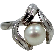 EXTRAORDINARY Japanese Akoya 7mm Cultured Pearl Sterling Silver Ring