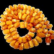 "23"" EGG YOLK AMBER Beads Necklace 41.9"