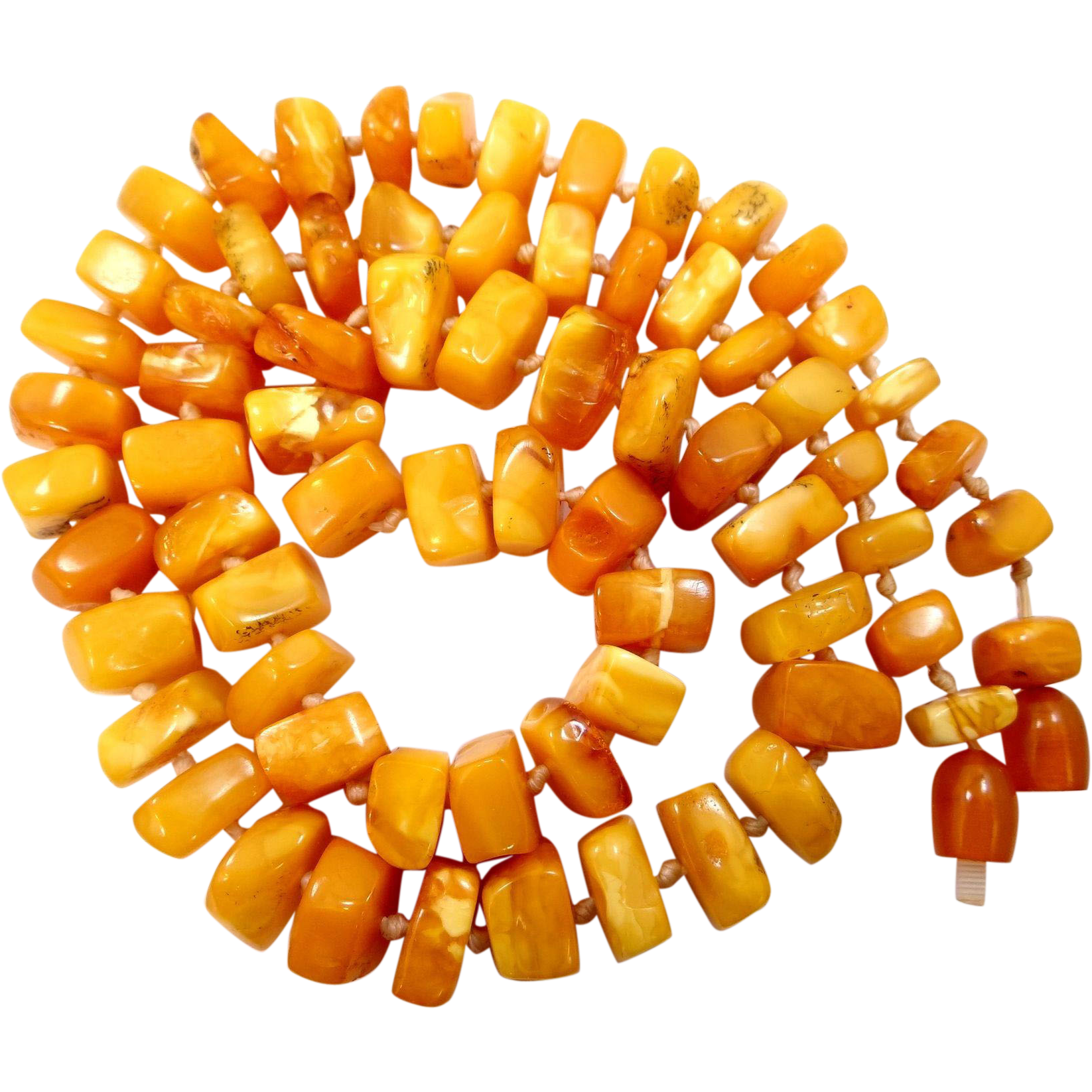 "23"" EGG YOLK AMBER Beads Necklace 41.9"