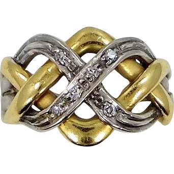 18k White and Yellow Gold with Diamonds Puzzle Ring