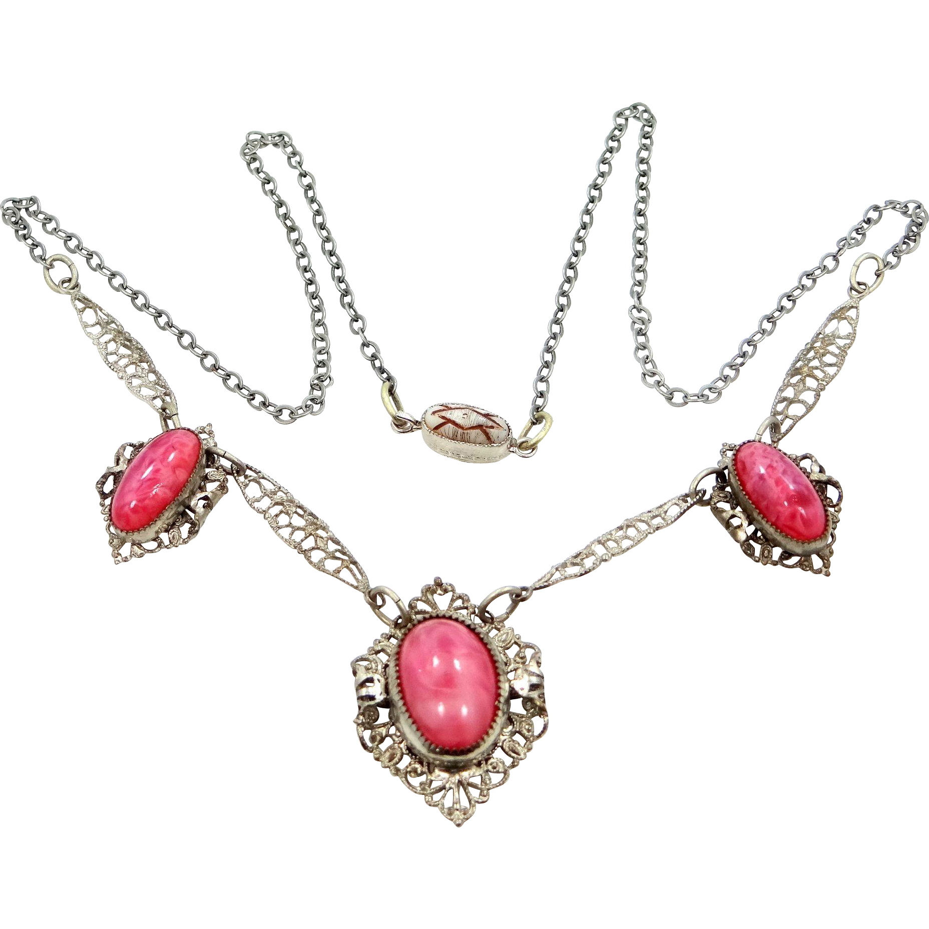 Czechoslovakia Pink Glass Filigree Necklace