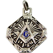 1920s 14k White Gold MASONIC Fob or Pendant