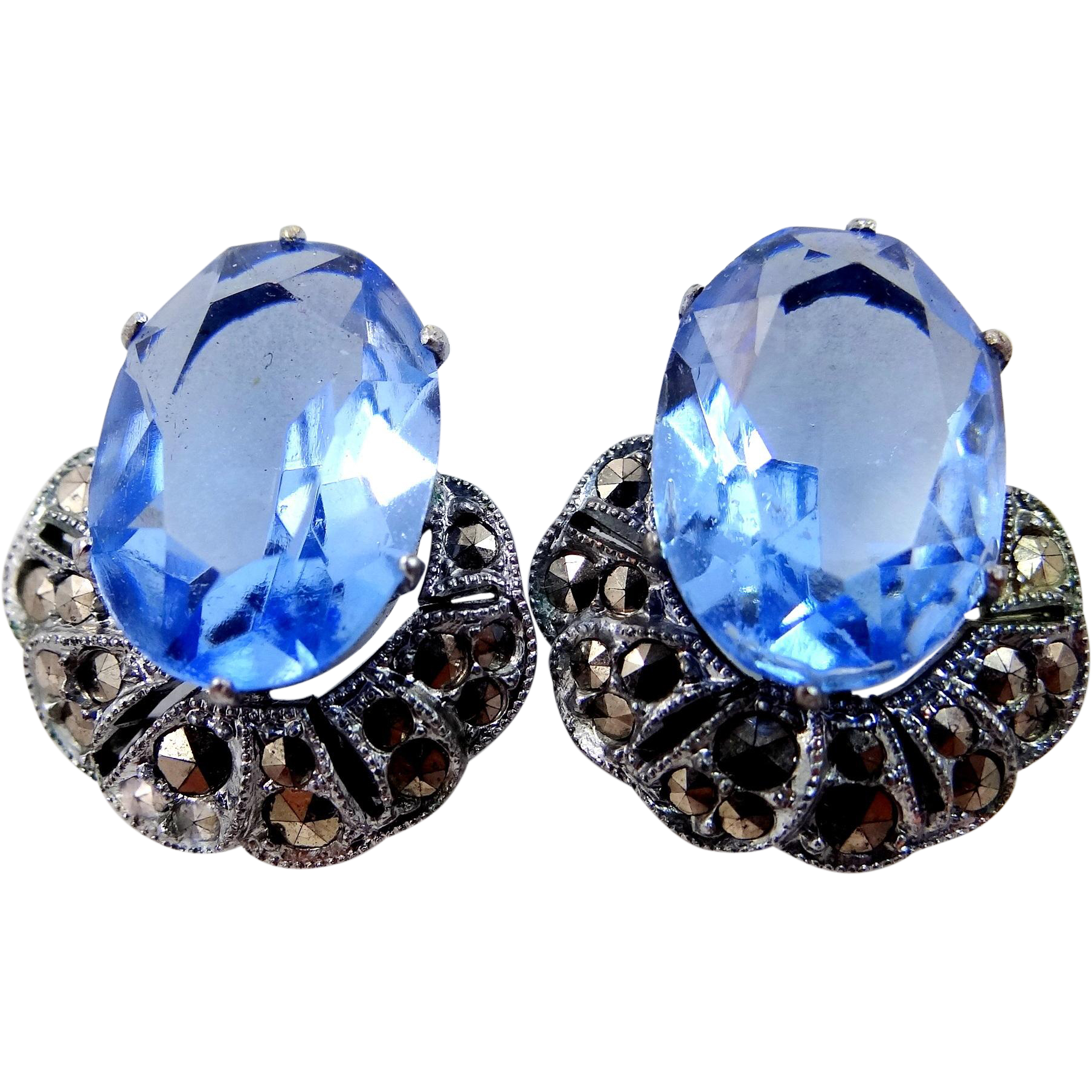 Czechoslovakia Blue Crystals and Marcasites Clip Earrings