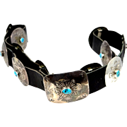 Vintage Sterling and Turquoise Navajo Concho Belt