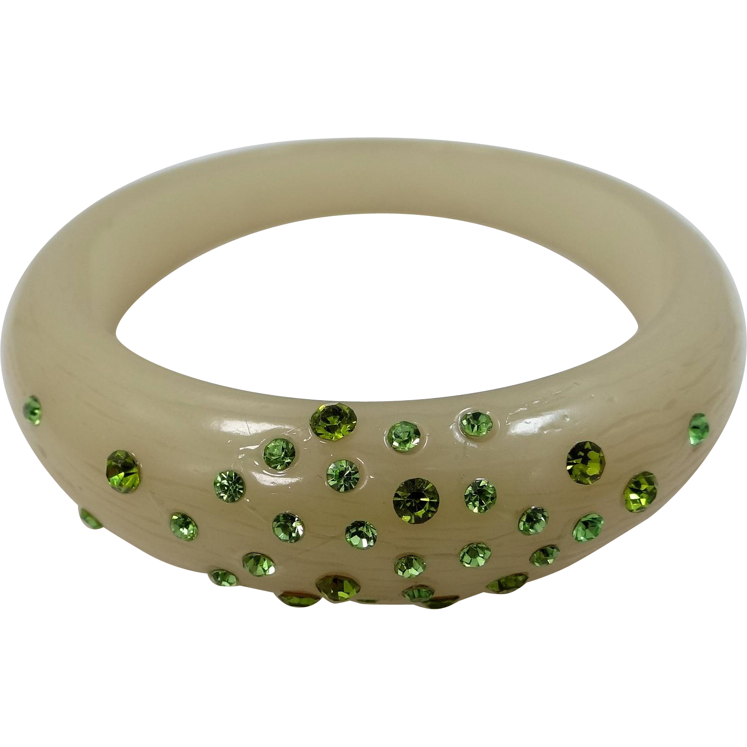 Pale Sage Lucite Bangle Bracelet with Green Crystals
