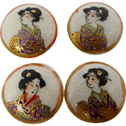4 Ceramic Hand Painted Satsuma Geisha Girl Buttons
