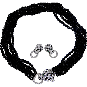 KJL Kenneth Jay Lane Panther Crystal Torsade Necklace and Matching Earrings