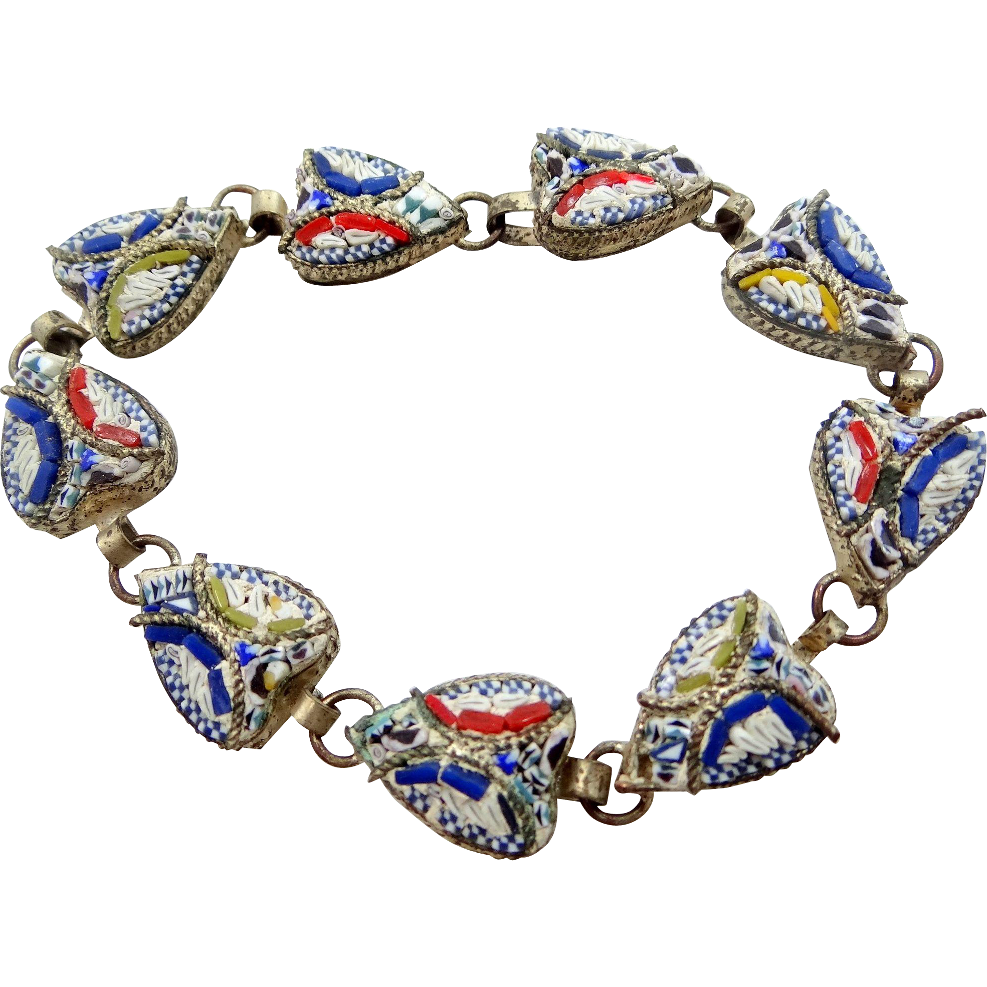 Italy Mosaic Heart Shaped 1930s Bracelet
