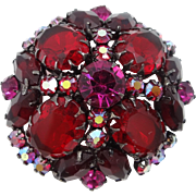 Juliana D & E Multi Pronged Large Burgundy Glass Stones Pin